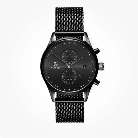 Crono Charle 42mm Black Leather Strap