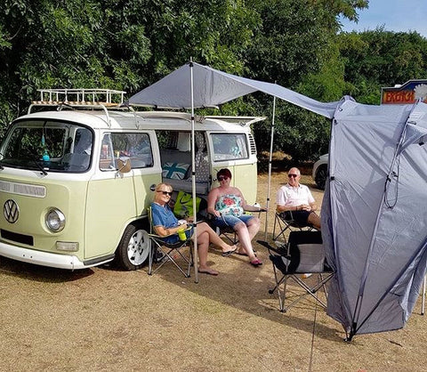 The most versatile awning on the market. You don't need a campervan, SheltaPod will fit any vehicle! Works as a simple sun canopy, half dome, 4 person tent or driveaway awning. The ideal family tent for camping whatever your vehicle; from SUVs to jeeps to caravans, campers and motorhomes.