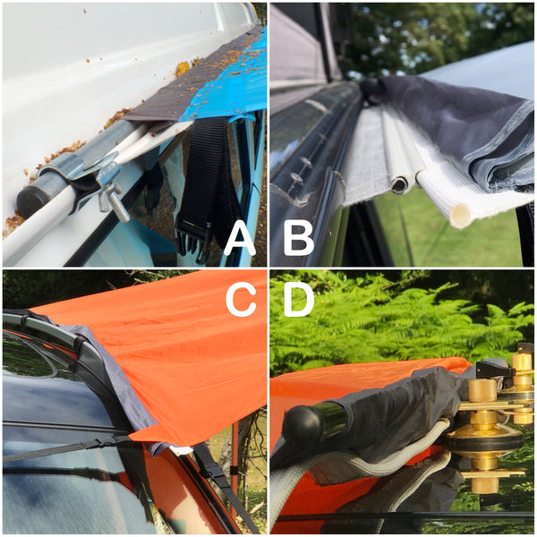SheltaPod is an awning that works with any vehicle from SUVs, 4x4s and jeeps to caravans, campervans and motorhomes. It can be used as a sun canopy, half dome, 4 person tent and driveaway awning. A family tent for camping, small pack size and lightweight.