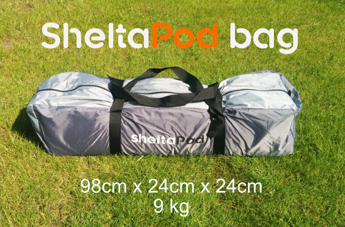 The SheltaPod awning comes in a small, lightweight bag with extra room to make packing away easier.