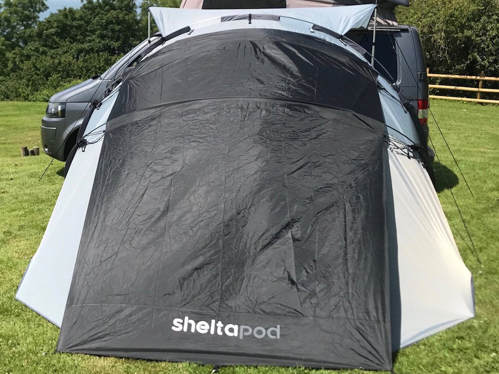 Bespoke camping accessory for SheltaPod; a heat reflective and blackout canopy in one which provides a darker and cooler environment inside the tent.