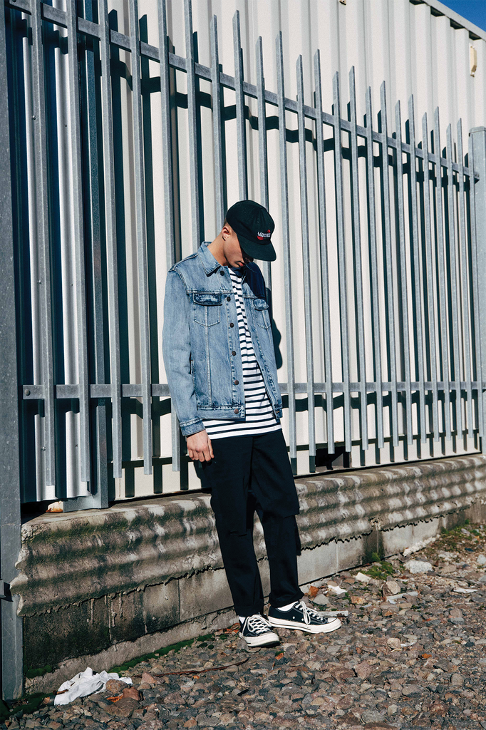 Lower Winter Editorial, Mens Denim Jacket and Slim Distressed Jeans in Black