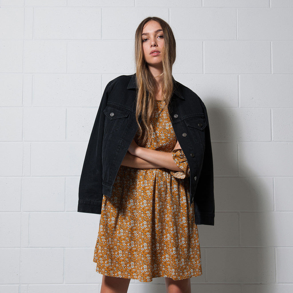 Lower Harlan Dress in Rust Floral and Denim Jacket in Black, Winter 2018.