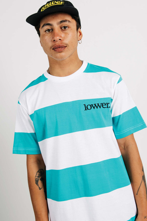 Standard Tee - Applebox - Teal/White Stripes