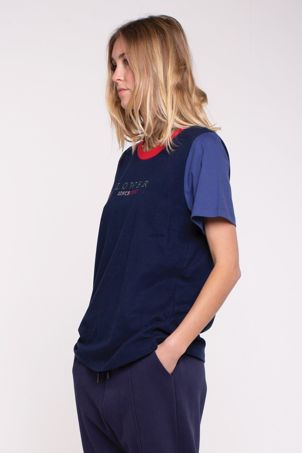 Magnolia Active Tee - Navy/Red/ Blue