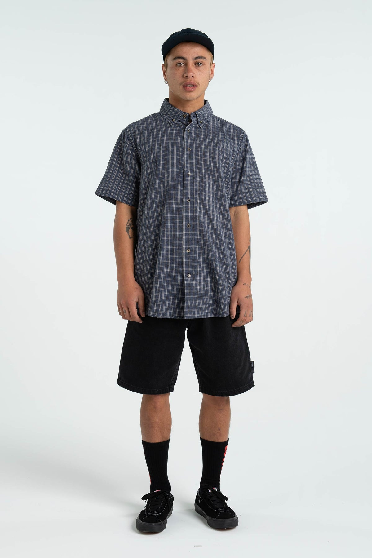 Mens Apartment Shirt - Navy/White Check