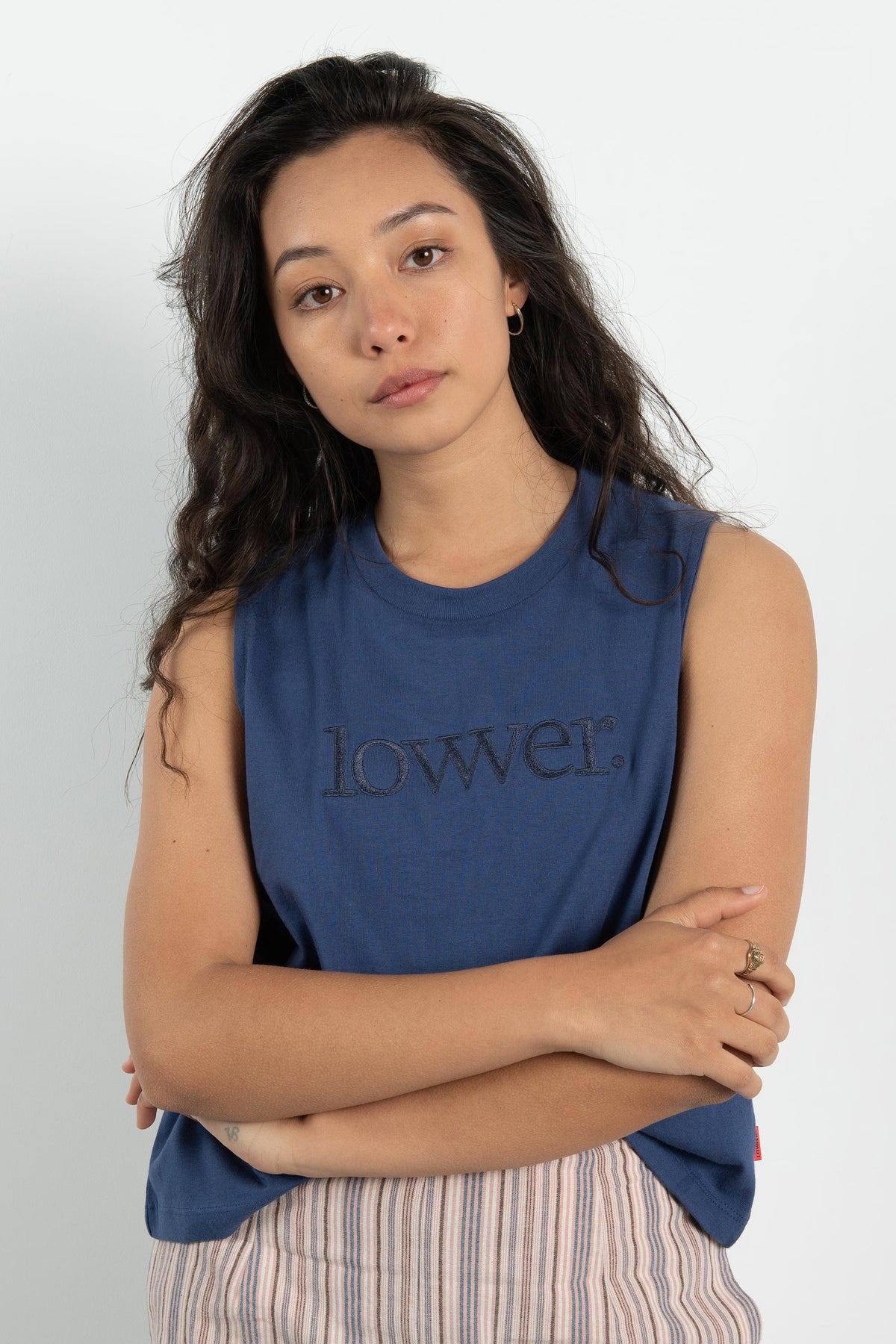 Womens Crop Tank - Applebox - Blue