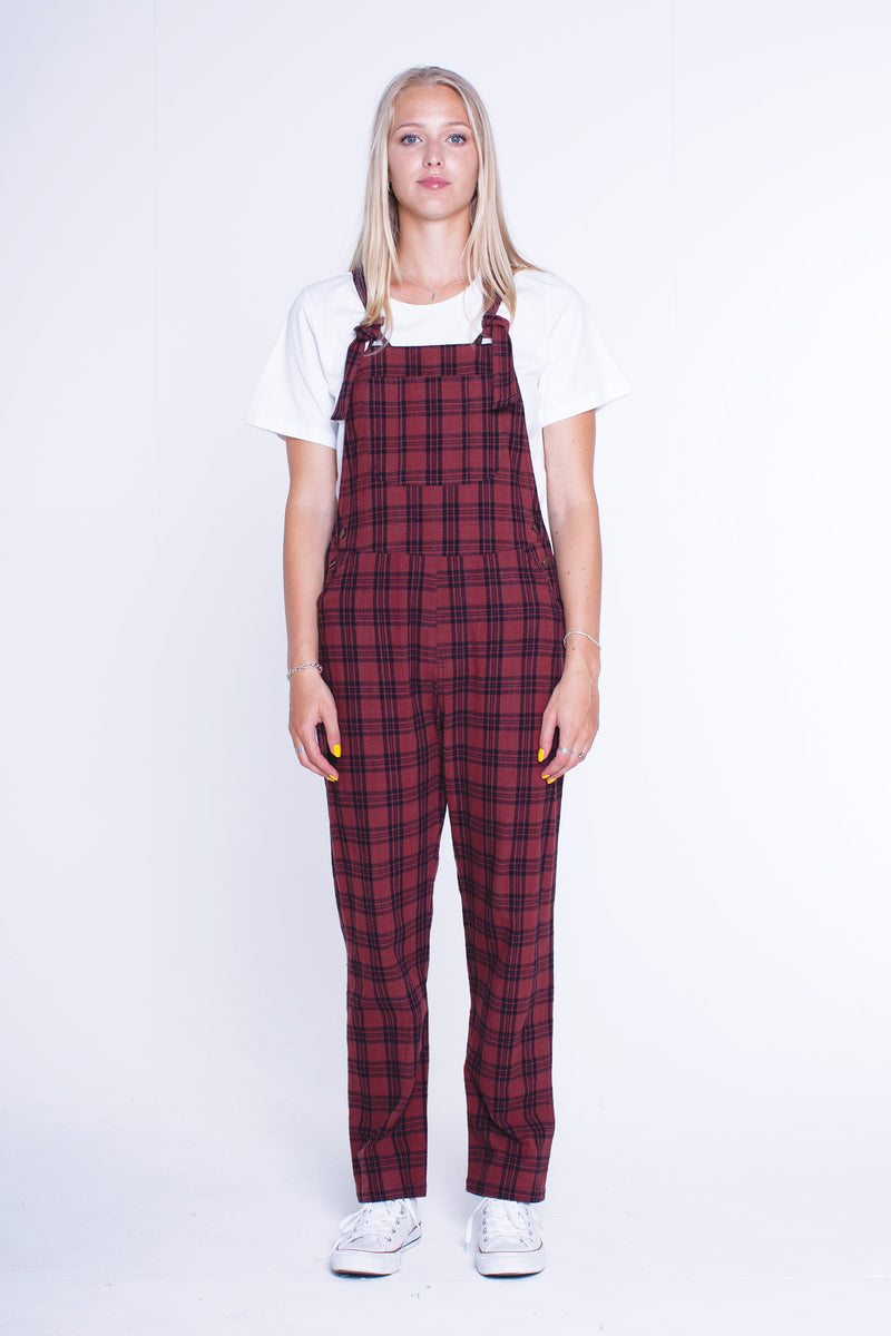 Womens Ava Overalls - Rust Check