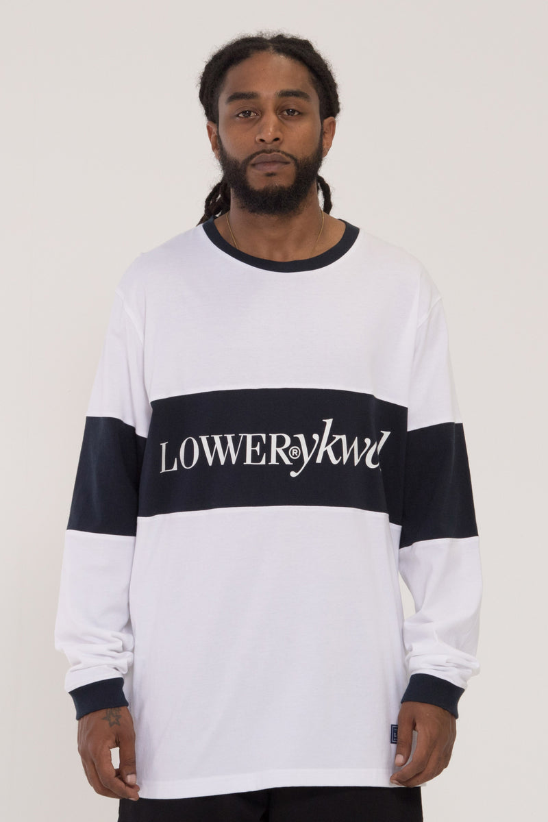 Times Bar Long Sleeve Tee - White/Navy