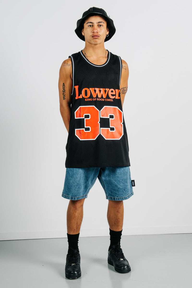Layer BBall Singlet - Good Times - Black
