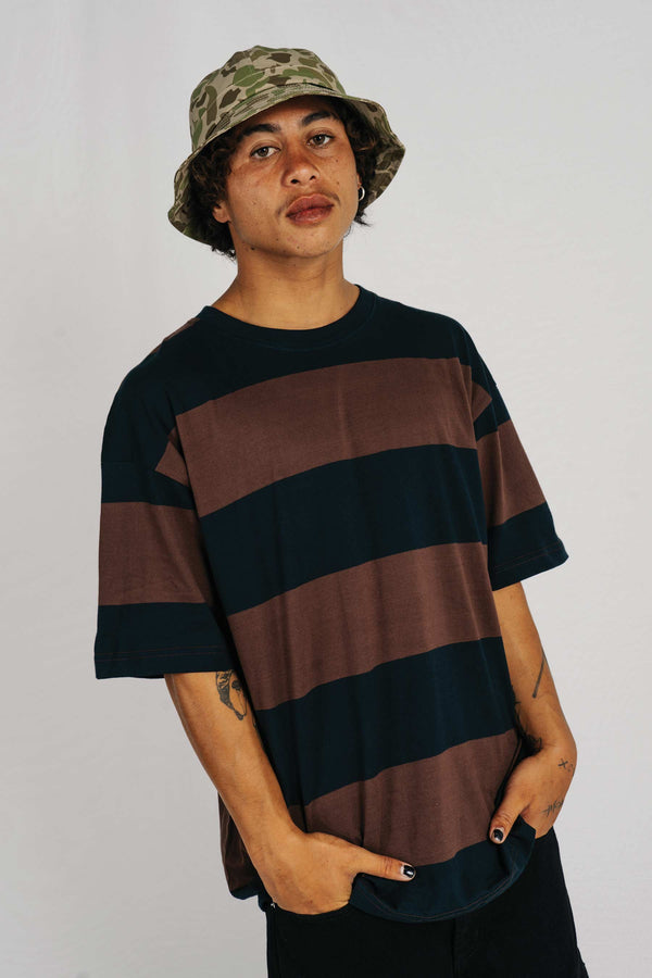Standard Tee - Phat Tag - Brown/Black Stripe