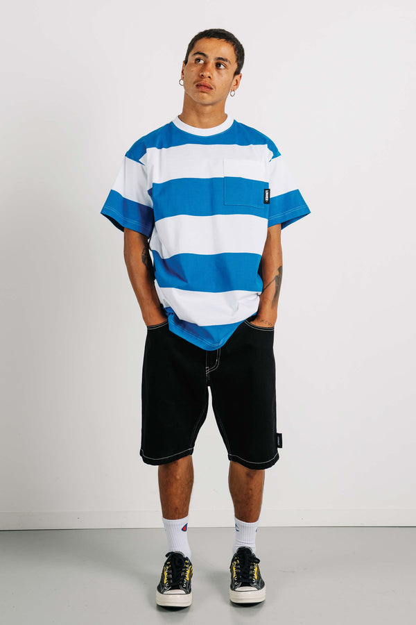 Block Pocket Tee - Blue/White