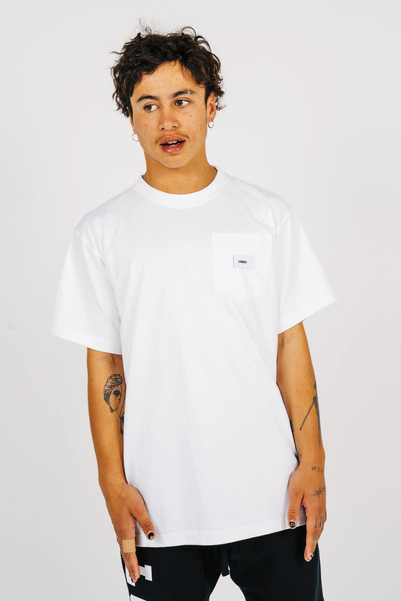 Mens Block Pocket Tee - White