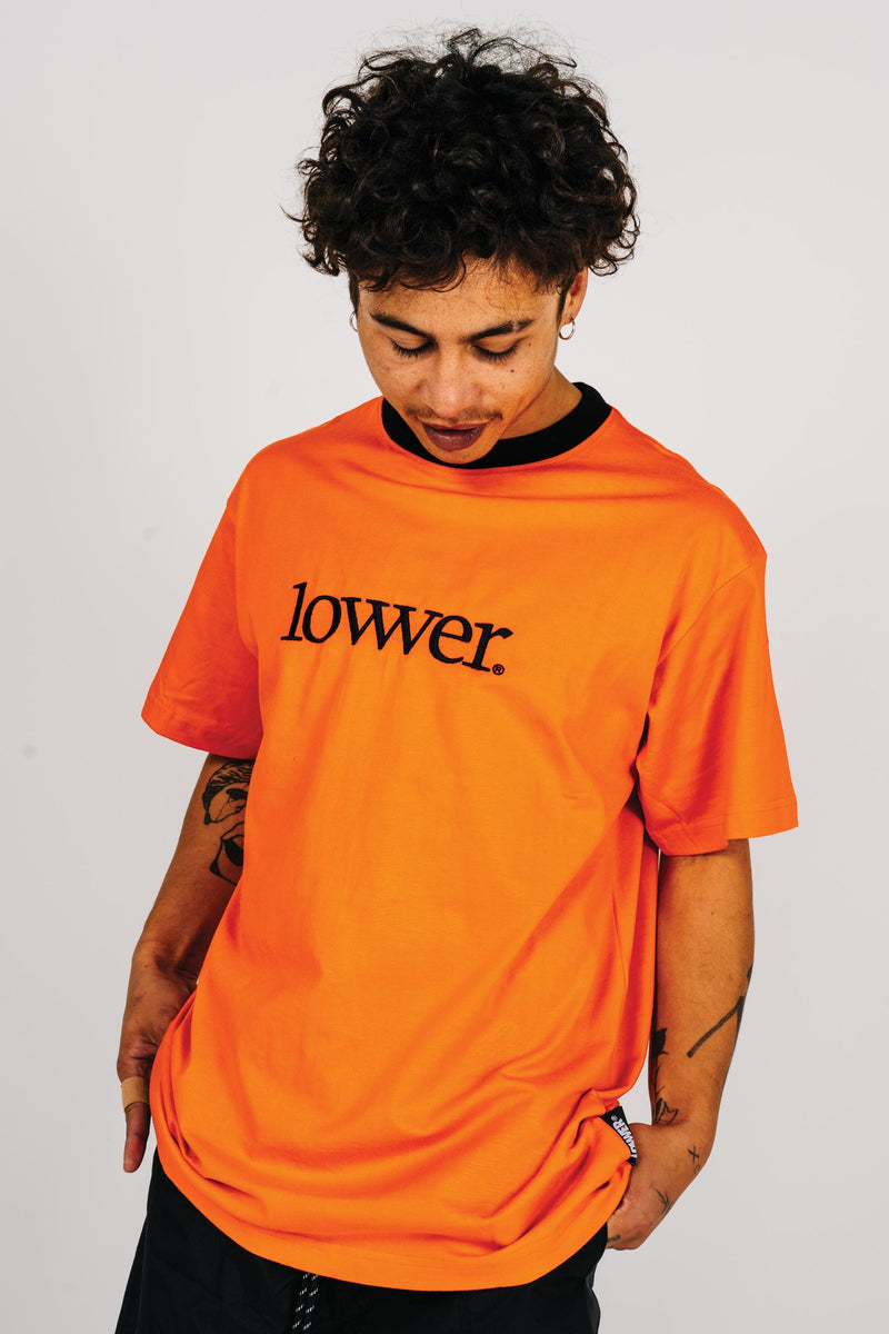 Mens Block Tee - Applebox - Orange (w/black rib)