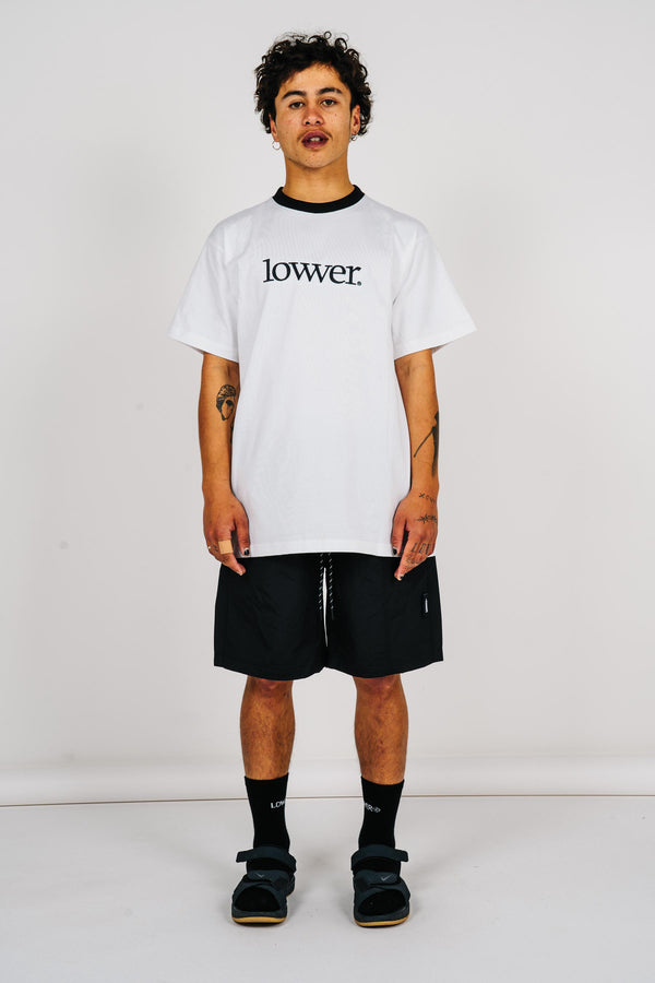 Mens Block Tee - Applebox - White (w/black rib)