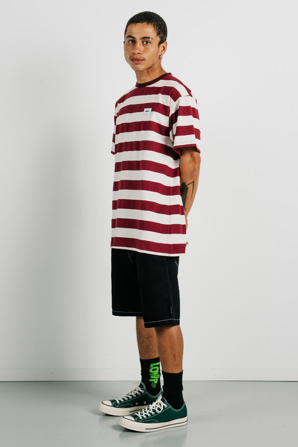 Block Tee - Funtura Damask - Burgundy/Cream Stripe