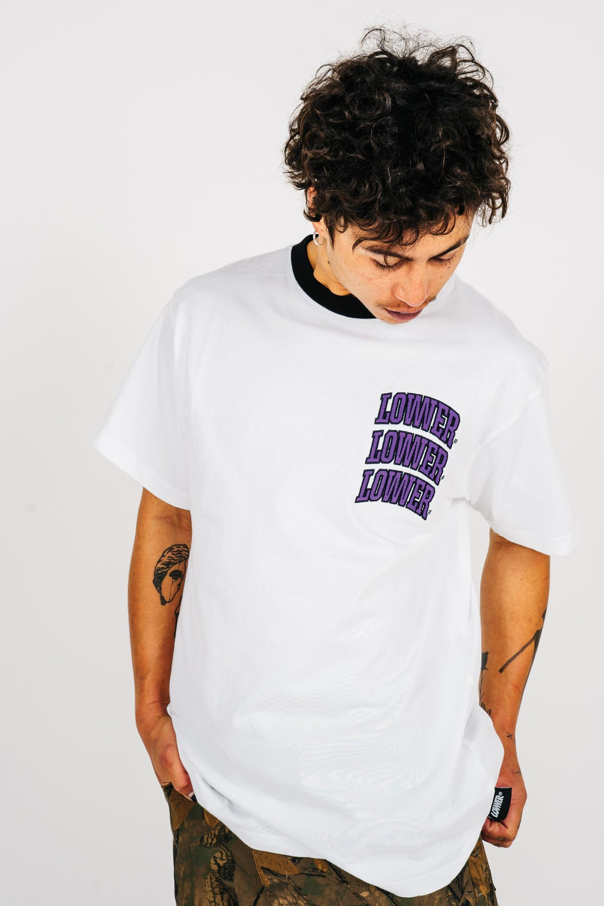 Mens Block Tee - Arch Stack - White (w/black rib)