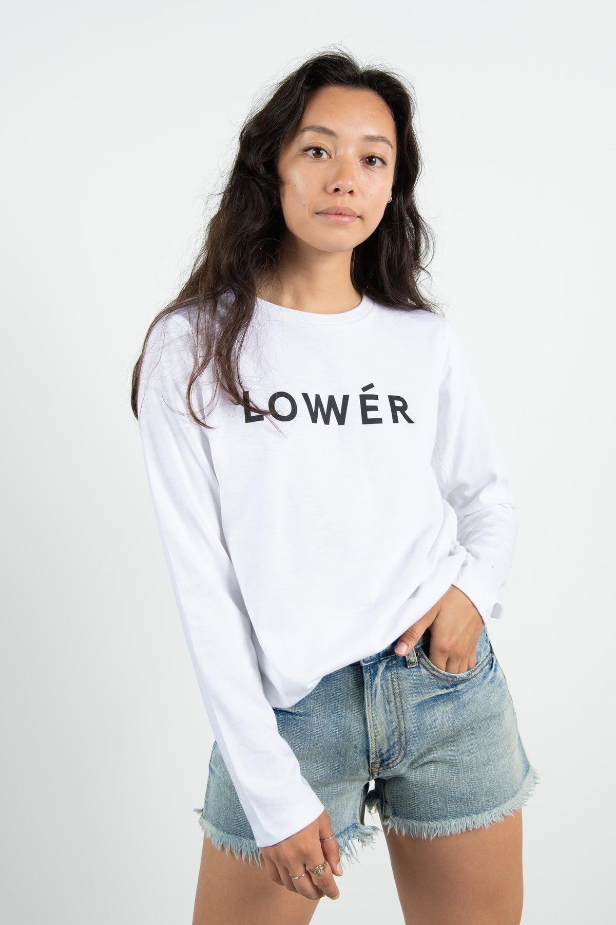 Womens Relax L/S Tee - Benetton - White