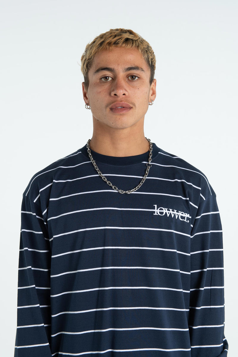Mens Block L/S Tee - Applebox - Navy/White