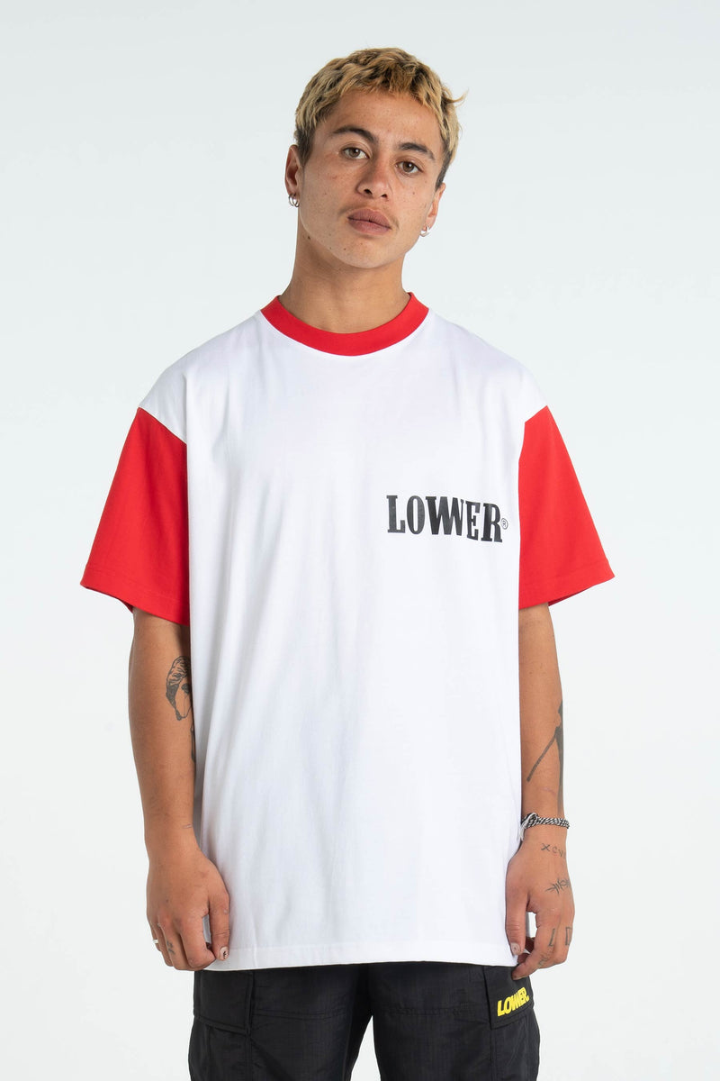 Mens Block Tee - Boro - Red/White