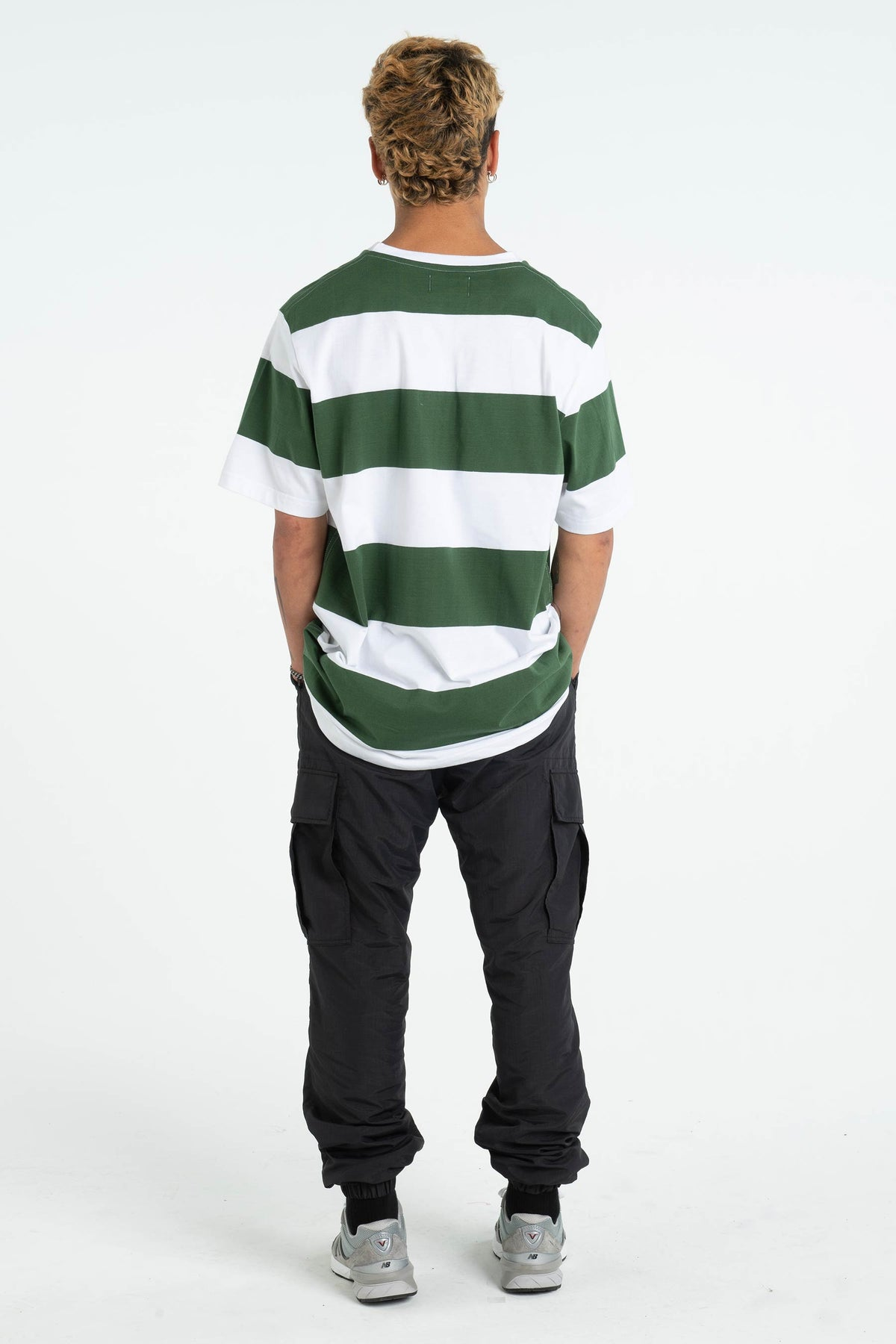 Mens Block Tee - Applebox - Green/White Stripe