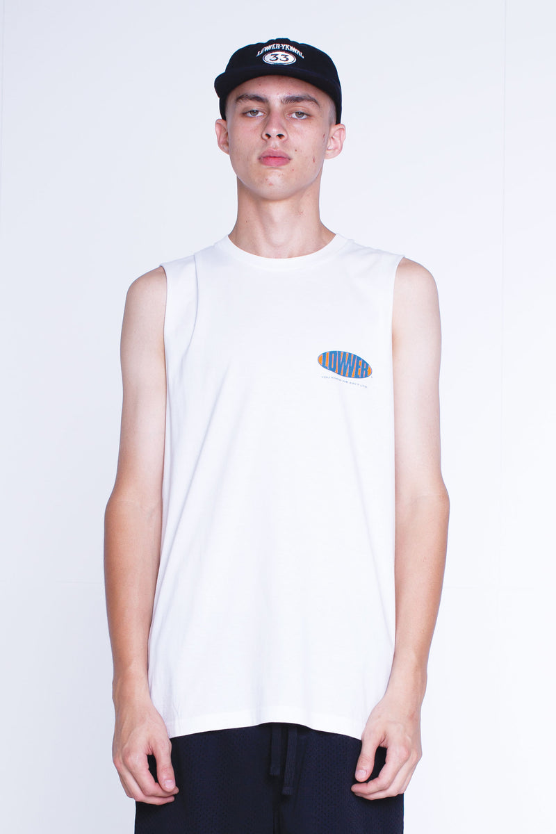 Mens Cut Tank - Burnah - White
