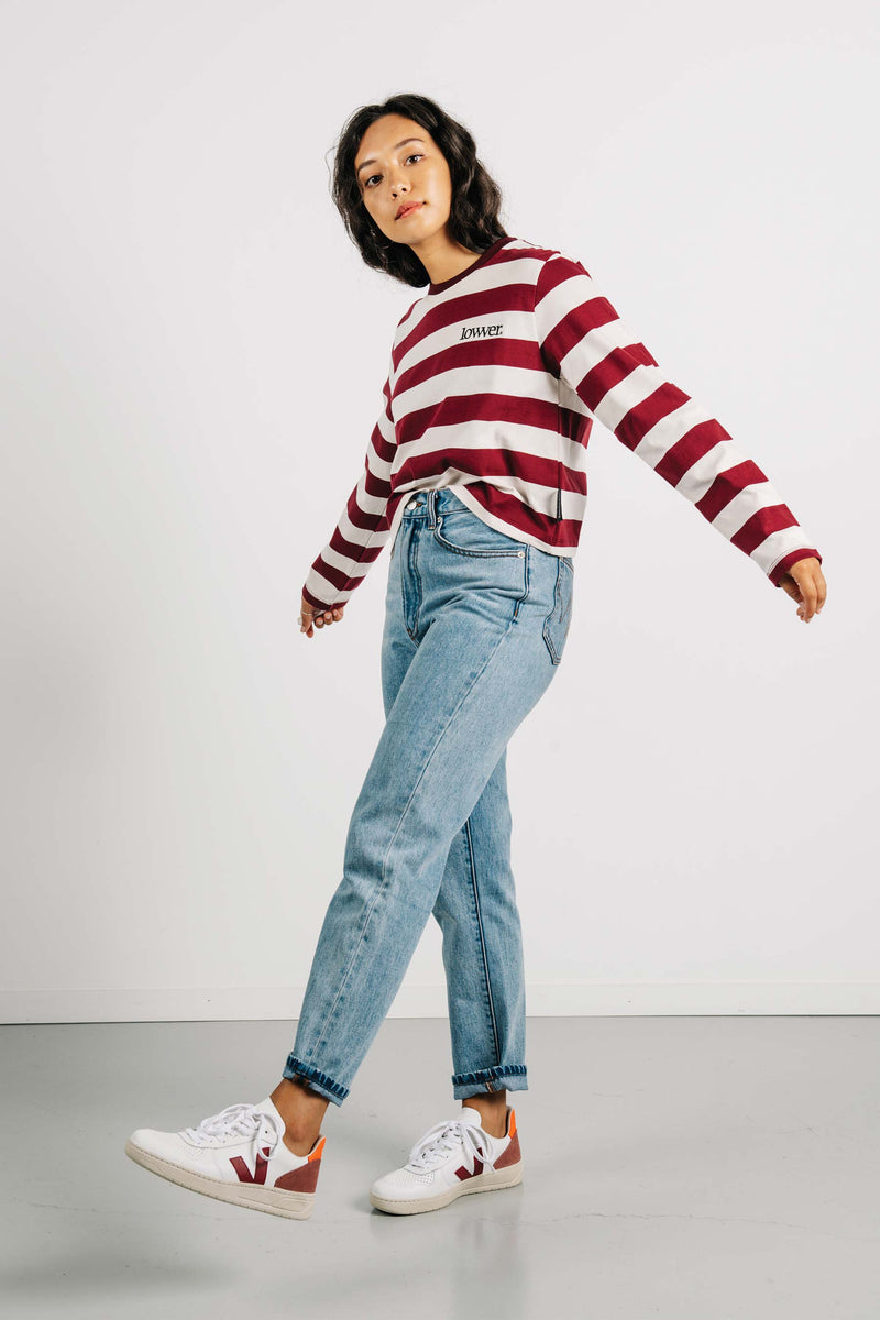 Cropped L/S Tee - Applebox - Maroon/Cream