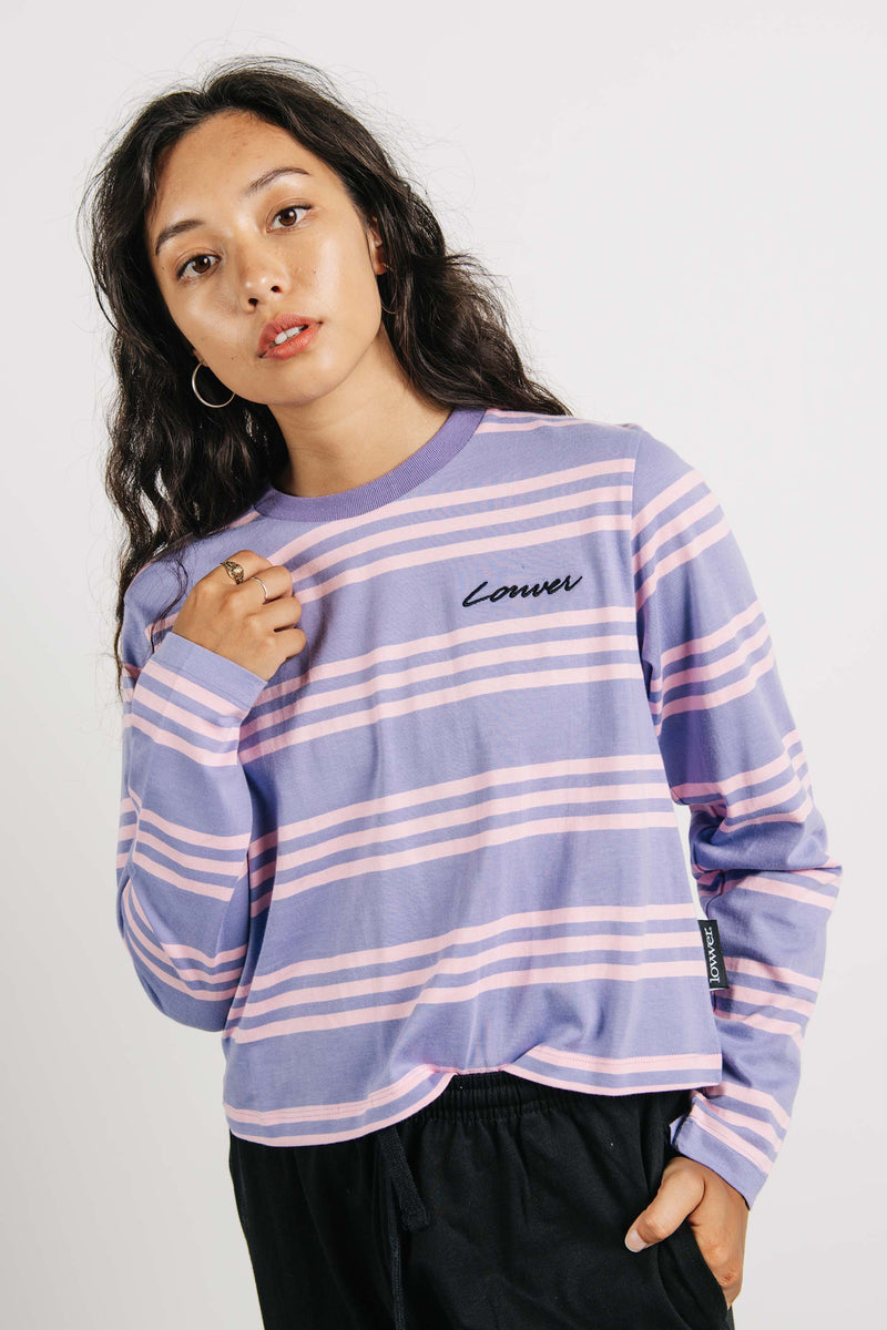 Cropped L/S Tee - Carpenter - Violet/Pink