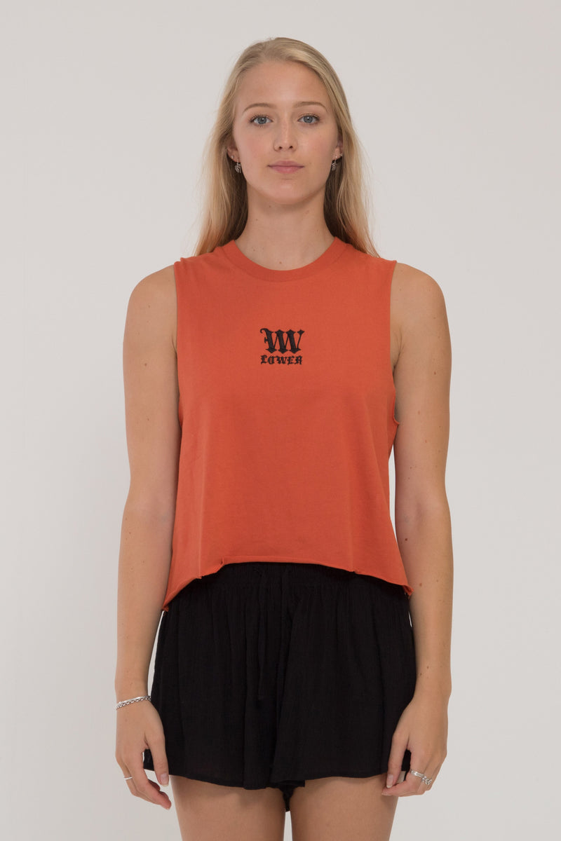 Black Letter Cropped Tank - Orange