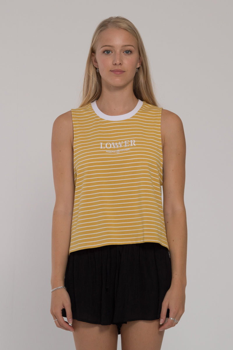 Striped Cropped Tank - Tumeric/White Stripe