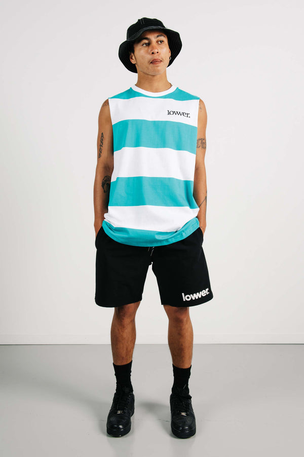 Cut Tank - Applebox - Teal/White Stripes