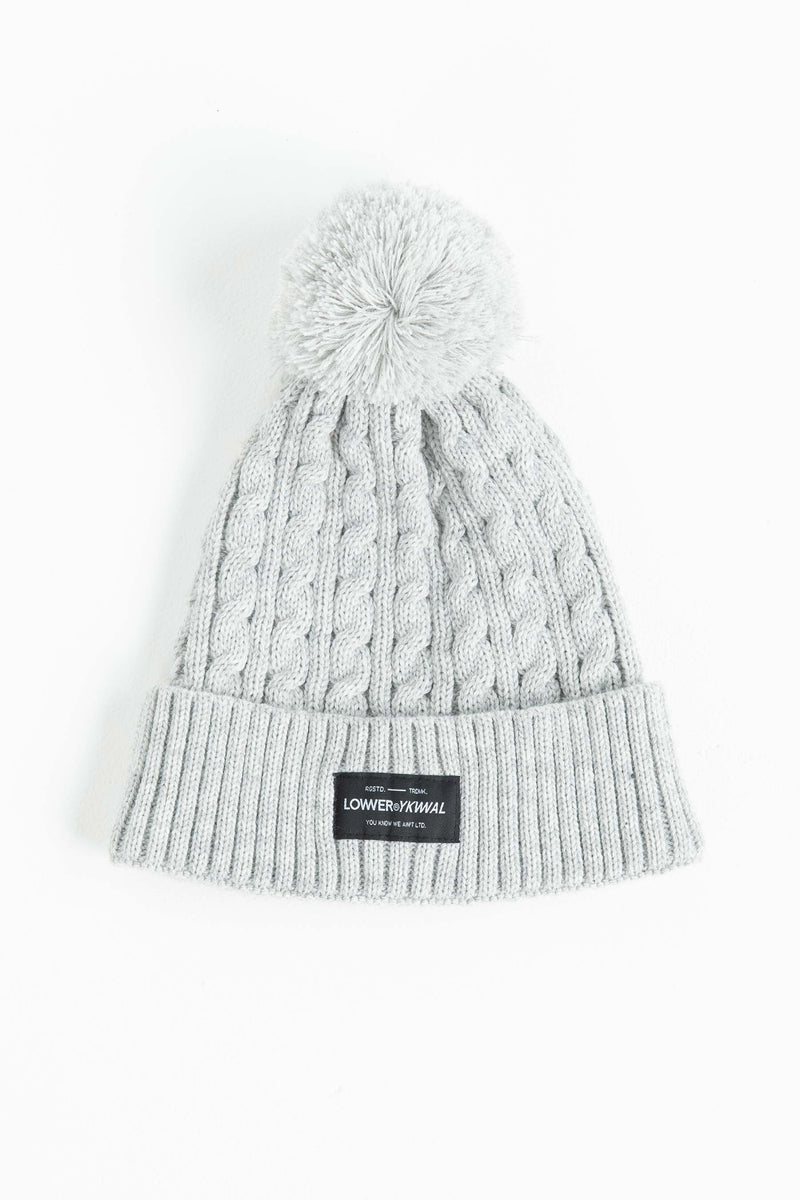 Cable Knit Beanie - Silver