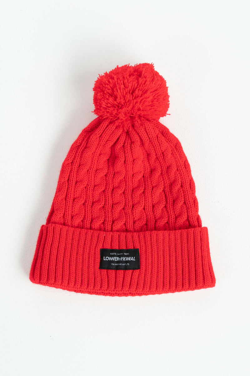 Cable Knit Beanie - Red