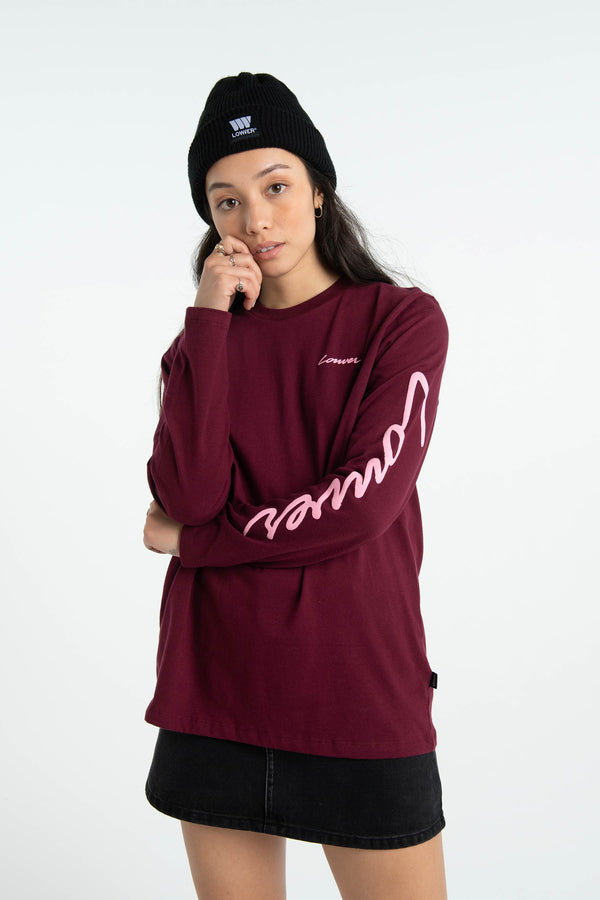 Womens Relax L/S Tee - Carpenter - Burgundy