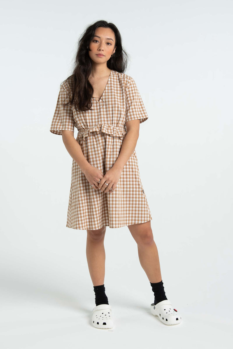 Womens Fran Dress - Tan/White Check