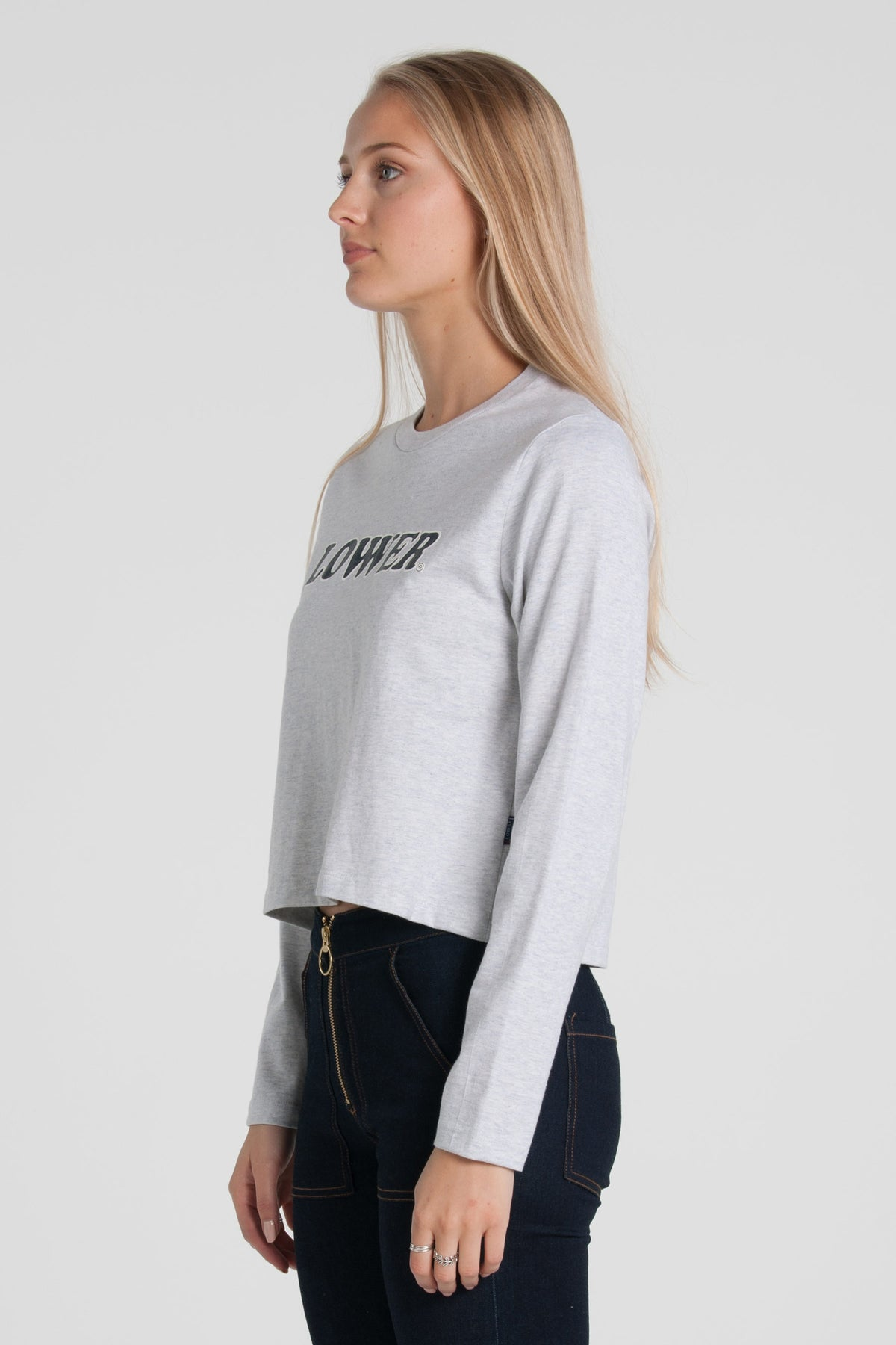 Cherry Ripe Cropped Long Sleeve - Silver Marle