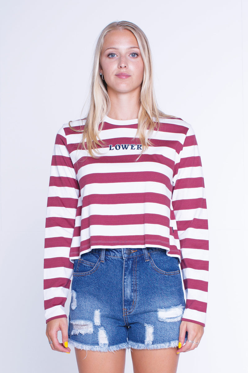 Womens Cropped L/S Tee - Classic - Maroon/White Stripe