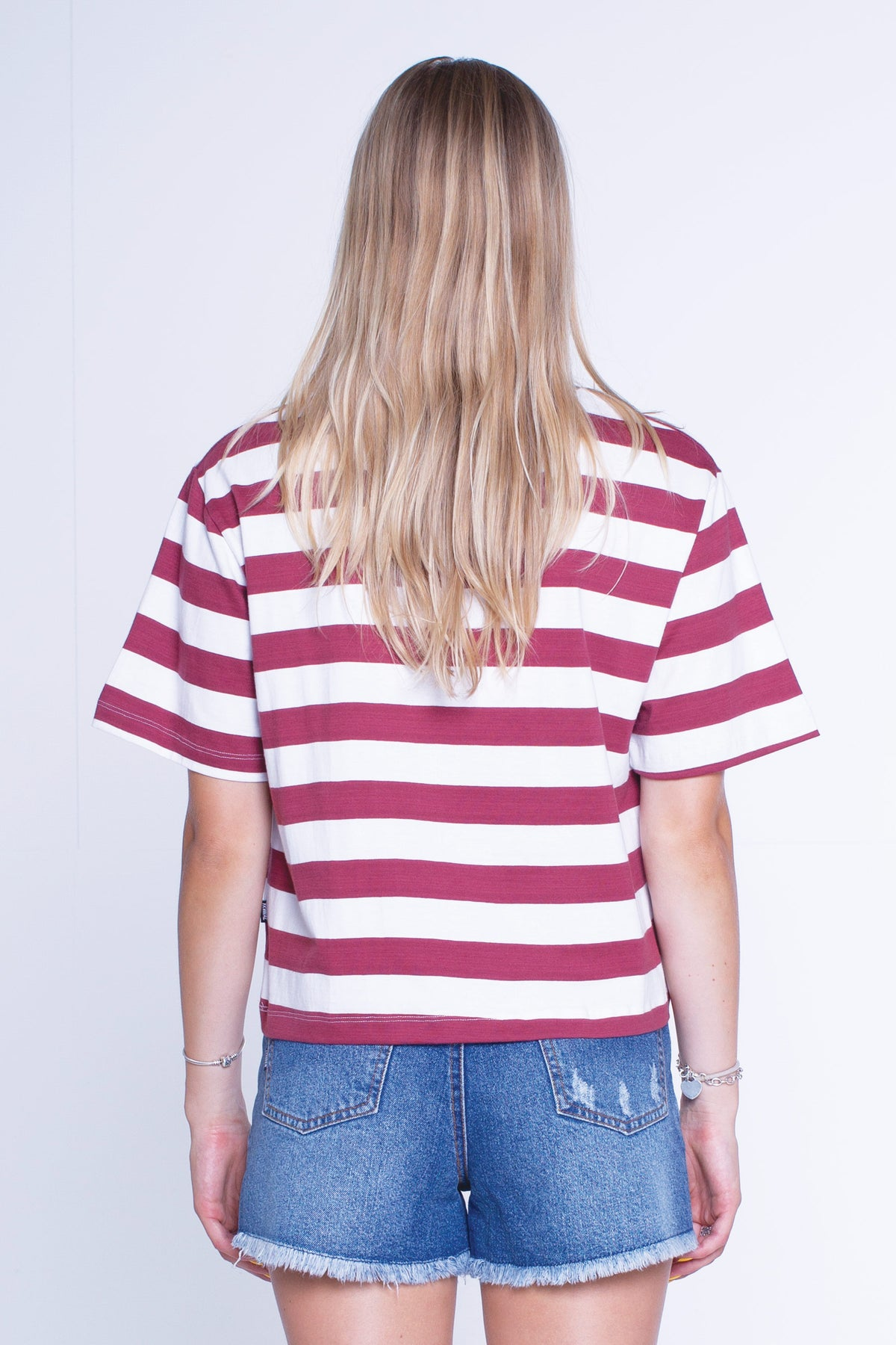 Womens Cropped Tee - Classic - Maroon/White Stripe