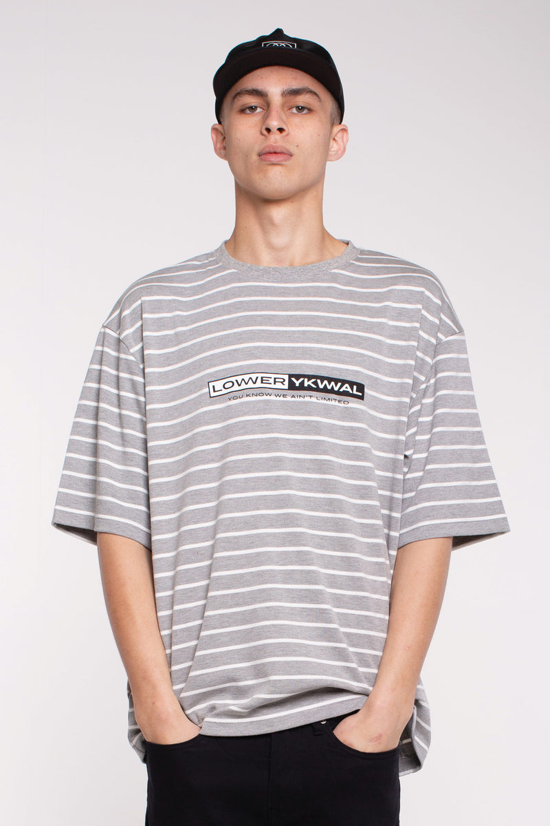 Coolie Heavy Weight Tee - Grey/White Stripe