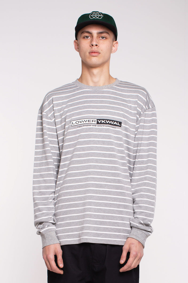 Coolie Heavy Weight L/S Tee - Grey/White Stripe
