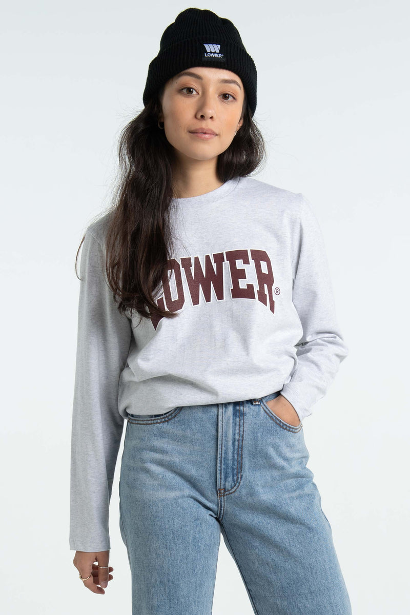 Womens Cropped L/S Tee - Cornell - Silver