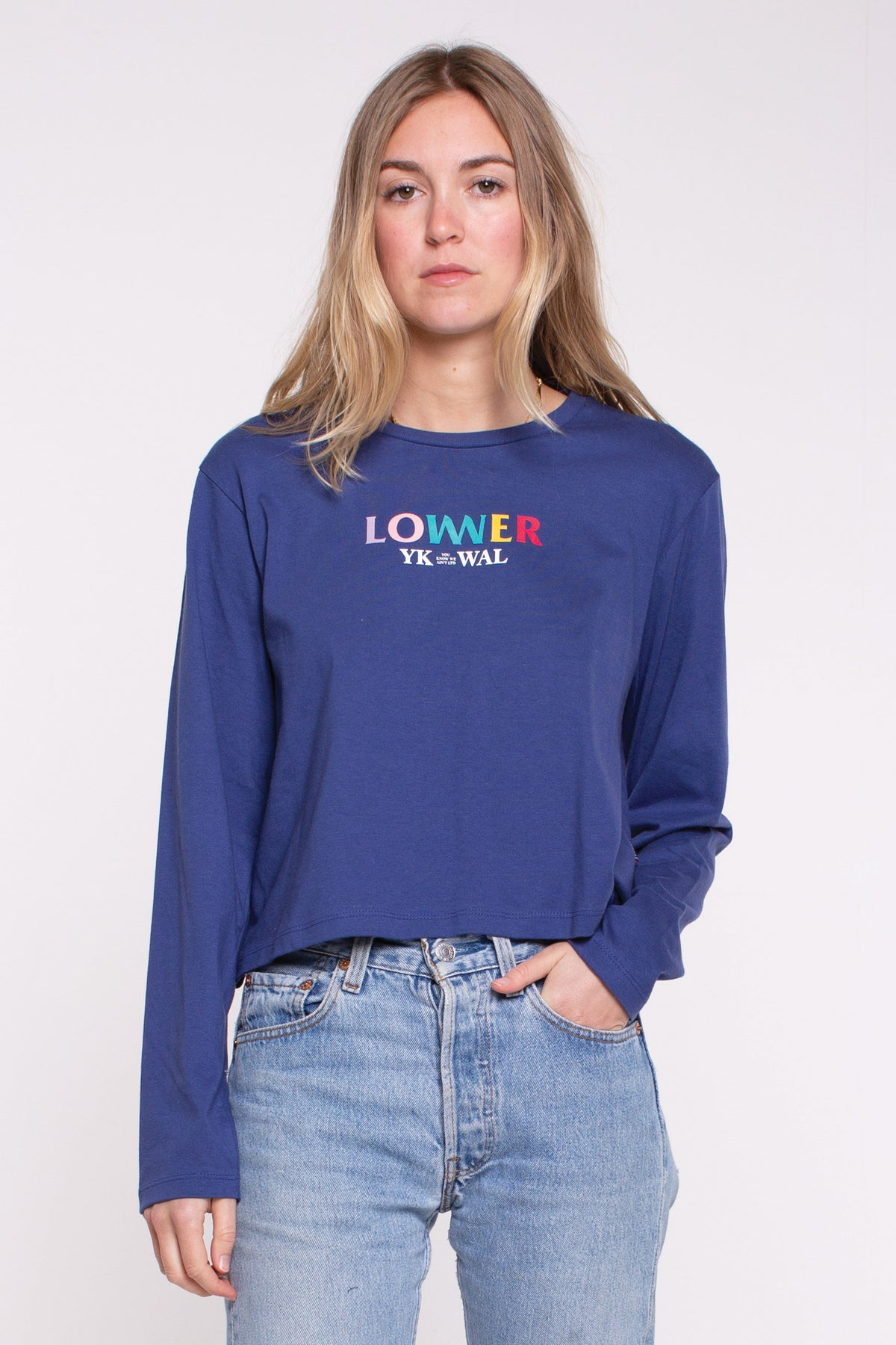 Layered Cropped L/S Tee - Blue