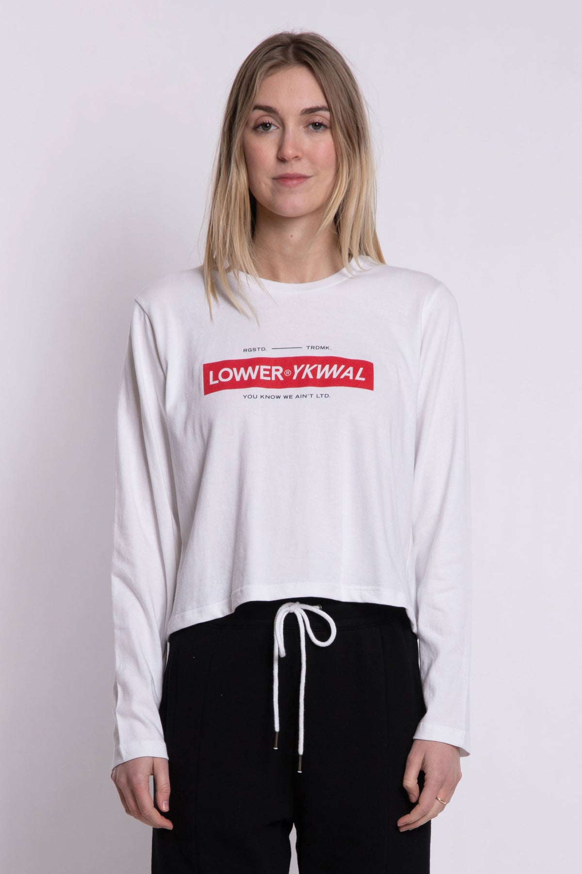 Logo Cropped LS Tee - White