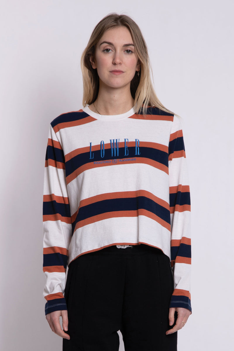 Matilda Cropped LS Tee - Brown/Navy/White