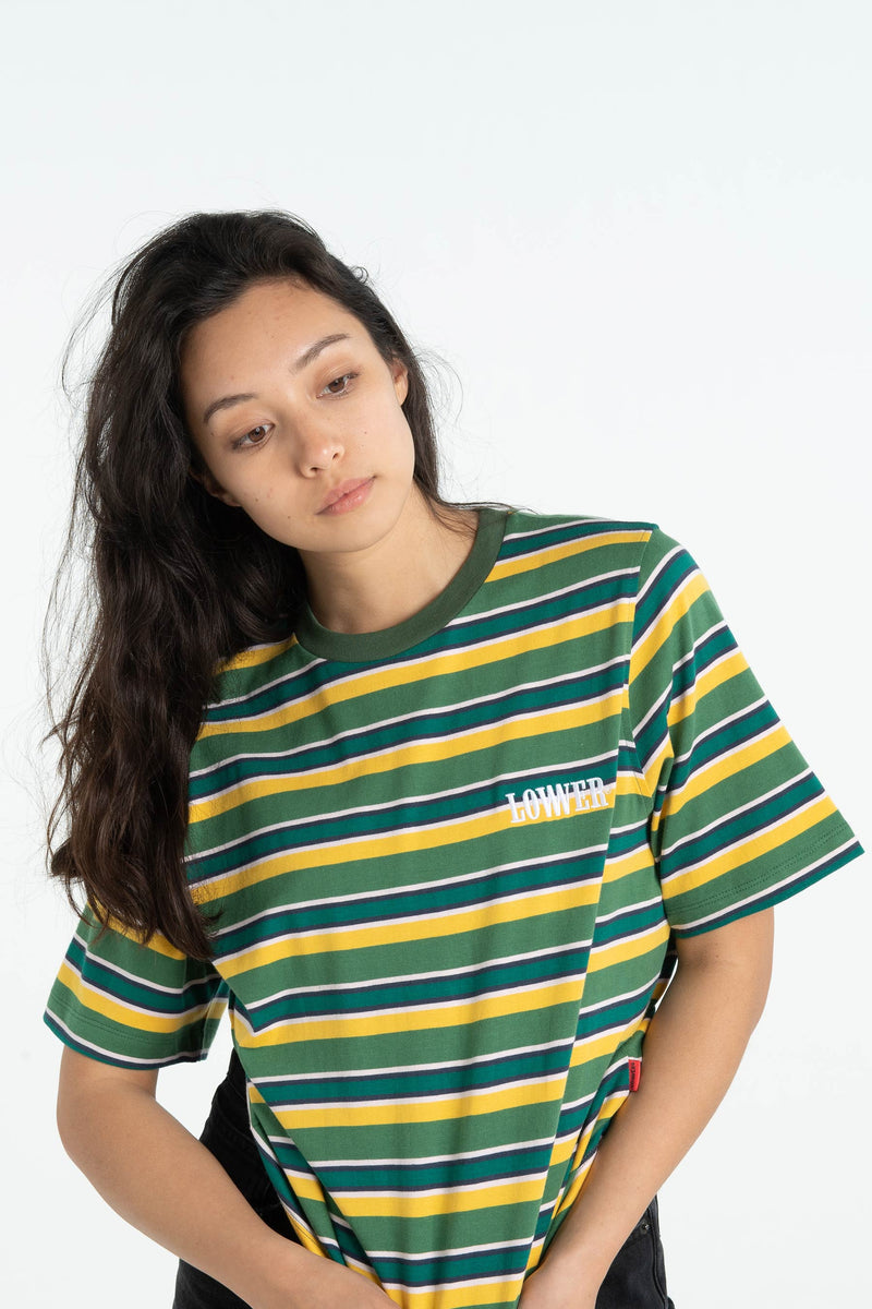 Womens Area Tee - Small Boro - Green/Gold Stripe