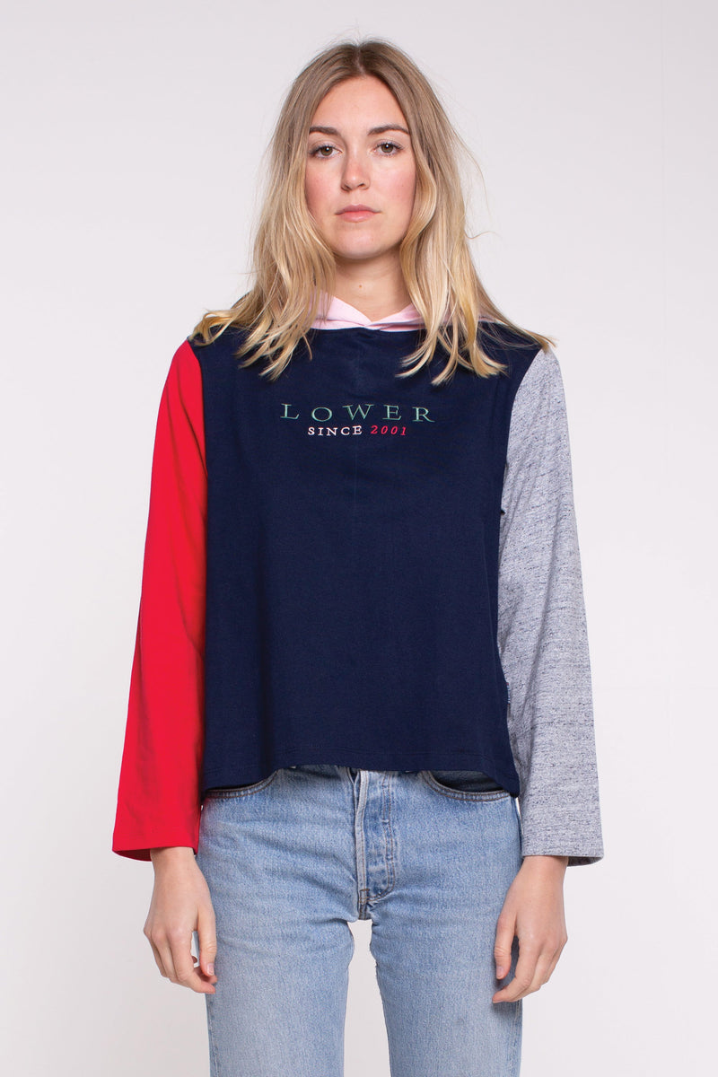 Cropped Hooded L/S Tee - Magnolia (Embroidery) - Blue/Red/Pink Panels