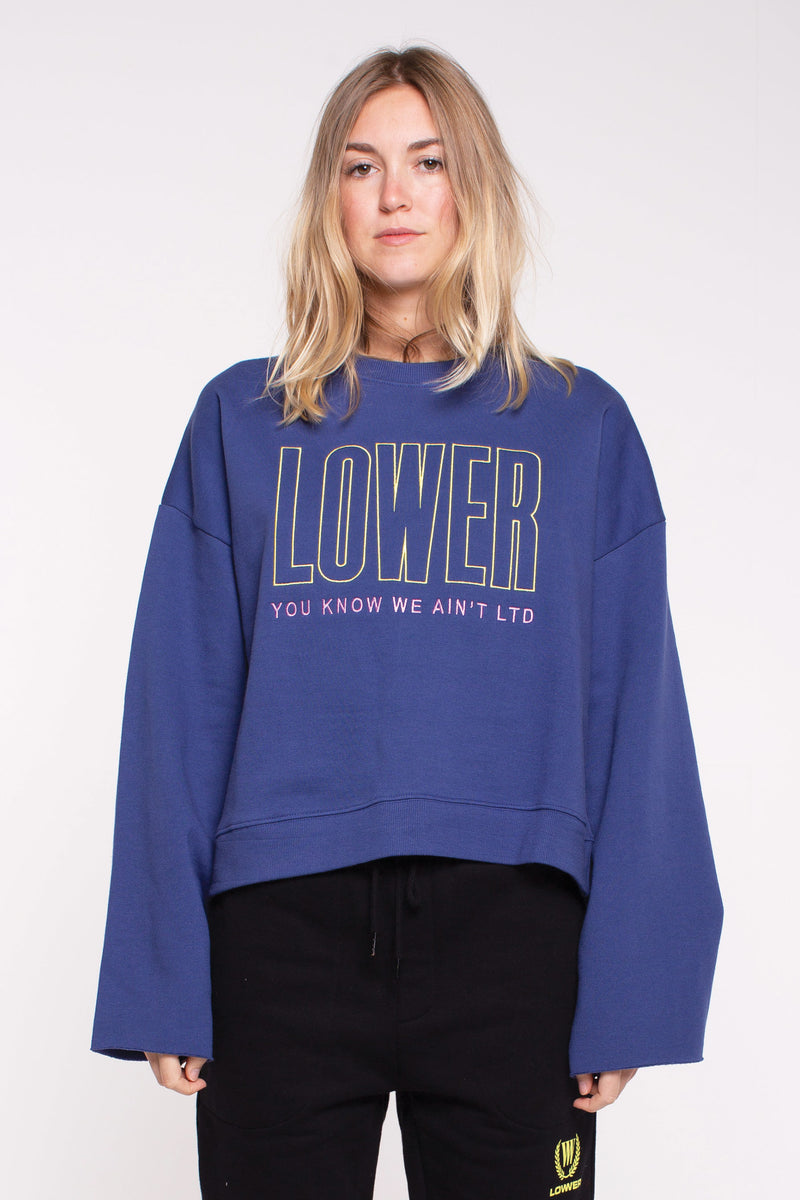 Cropped Crew Sweat- Stretch - Blue