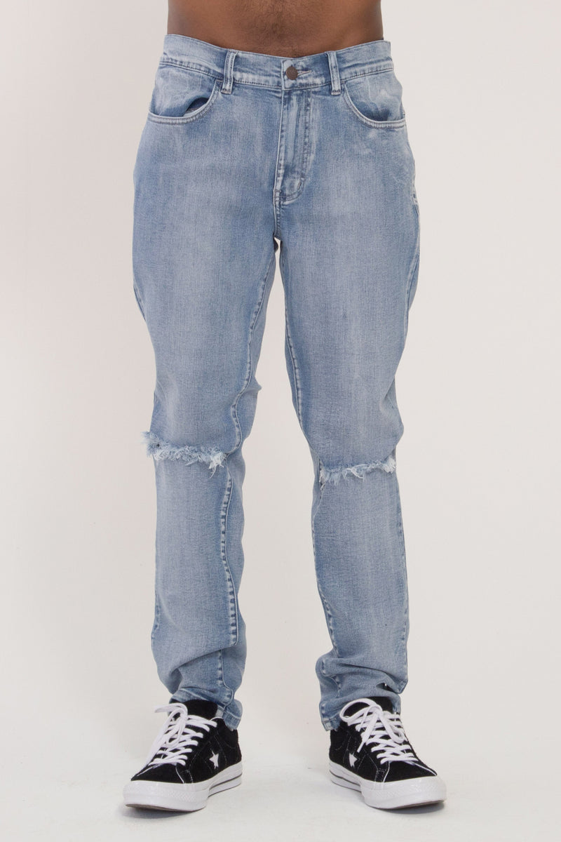 Leaner Jeans - Distressed Blue Wash