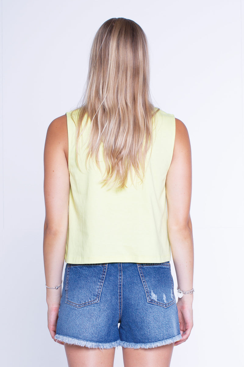 Womens Cropped Tank - Dippin - Frozen Yellow