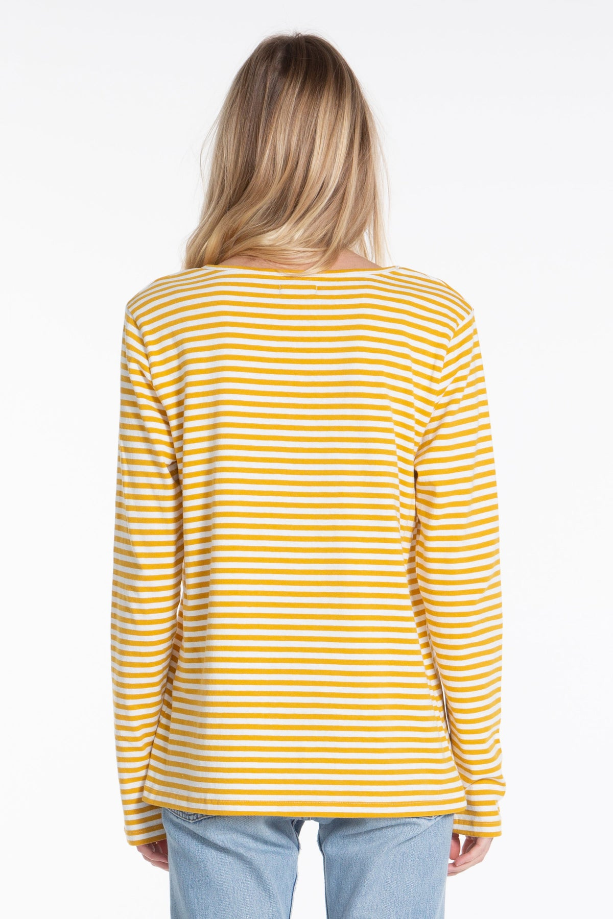 Classic LS Tee - Cream/Gold Stripe